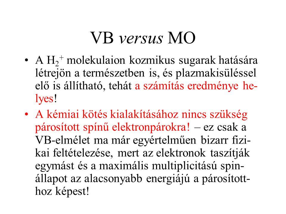 VB versus MO A H 2 + molekulaion kozmikus sugarak hatására létrejön a természetben is, és plazmakisüléssel elő is állítható, tehát a számítás eredmény