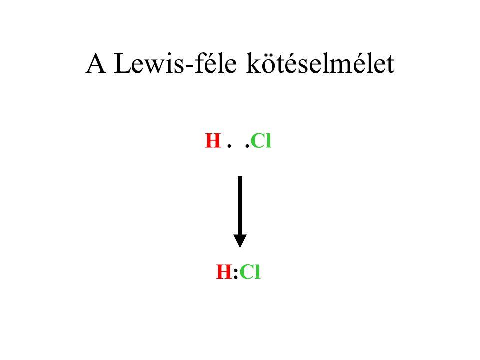 A Lewis-féle kötéselmélet H..Cl H:Cl