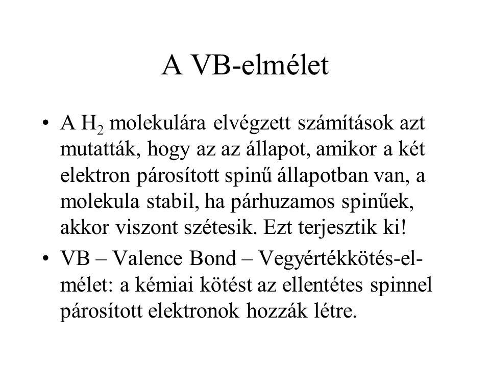 A VB-elmélet A H 2 molekulára elvégzett számítások azt mutatták, hogy az az állapot, amikor a két elektron párosított spinű állapotban van, a molekula stabil, ha párhuzamos spinűek, akkor viszont szétesik.
