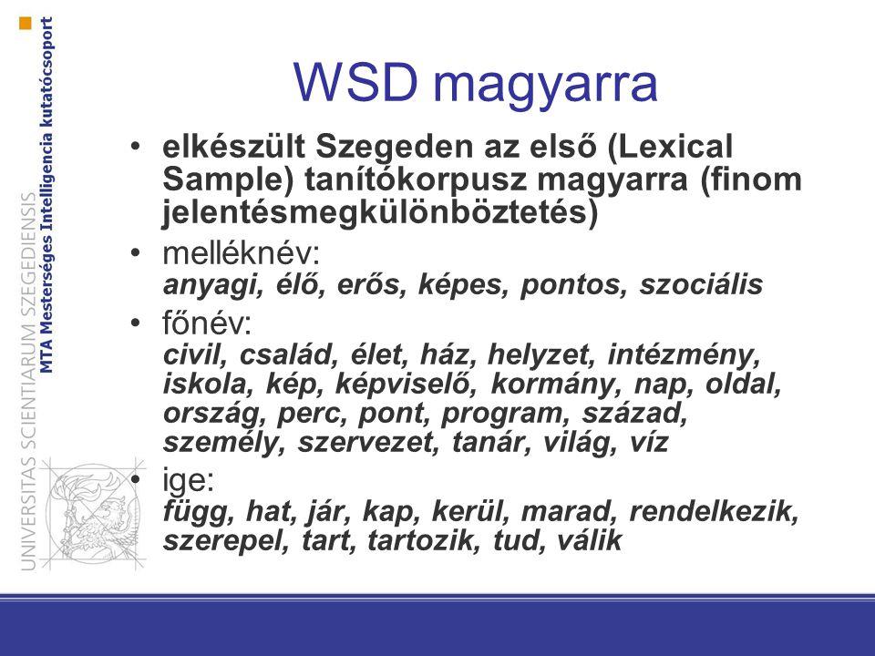 WSD magyarra elkészült Szegeden az első (Lexical Sample) tanítókorpusz magyarra (finom jelentésmegkülönböztetés) melléknév: anyagi, élő, erős, képes,