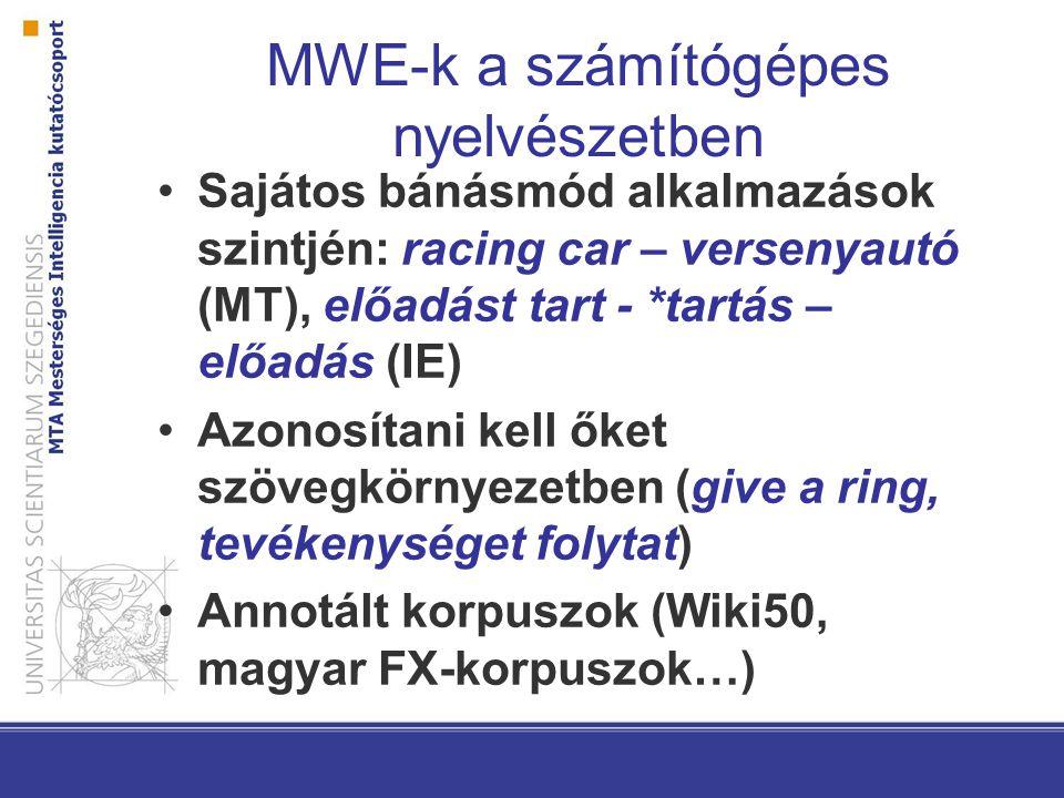 MWE-k a számítógépes nyelvészetben Sajátos bánásmód alkalmazások szintjén: racing car – versenyautó (MT), előadást tart - *tartás – előadás (IE) Azono