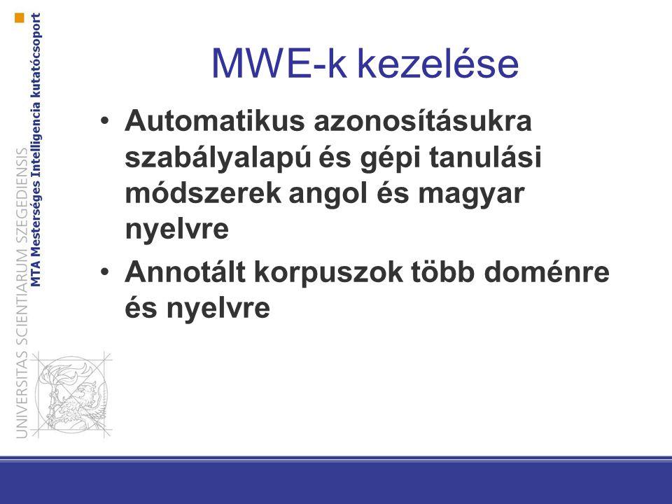 MWE-k kezelése Automatikus azonosításukra szabályalapú és gépi tanulási módszerek angol és magyar nyelvre Annotált korpuszok több doménre és nyelvre