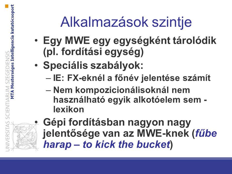 Alkalmazások szintje Egy MWE egy egységként tárolódik (pl. fordítási egység) Speciális szabályok: –IE: FX-eknél a főnév jelentése számít –Nem kompozic