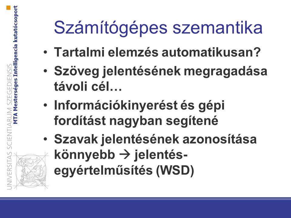 MWE-k a számítógépes nyelvészetben Sajátos bánásmód alkalmazások szintjén: racing car – versenyautó (MT), előadást tart - *tartás – előadás (IE) Azonosítani kell őket szövegkörnyezetben (give a ring, tevékenységet folytat) Annotált korpuszok (Wiki50, magyar FX-korpuszok…)