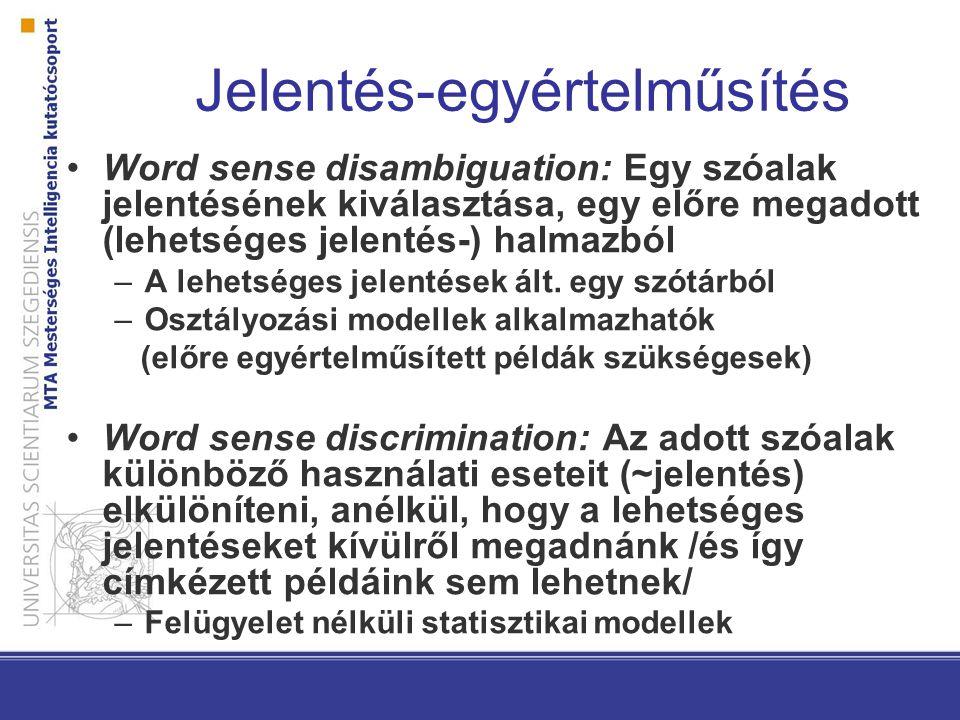 WSD Típusai –All words A cél az összes szóalak egyértelműsítése, folyó szövegben –Lexical sample A cél bizonyos szóalakok egyértelműsítése, minden szóalakra önálló modell –Finom jelentésmegkülönböztetés (min.