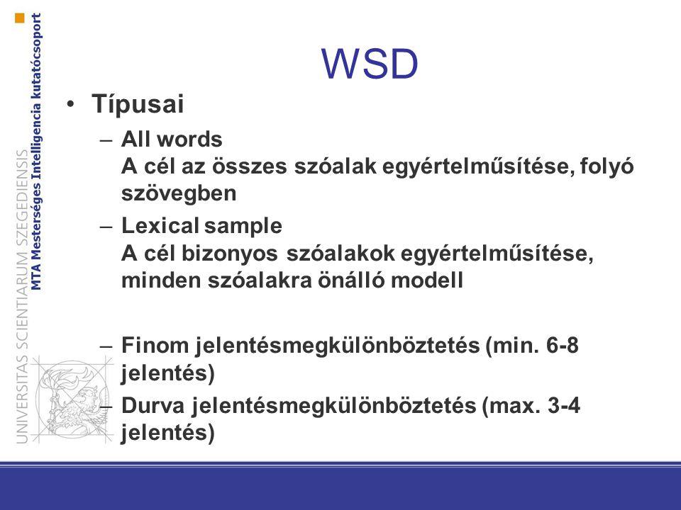WSD Típusai –All words A cél az összes szóalak egyértelműsítése, folyó szövegben –Lexical sample A cél bizonyos szóalakok egyértelműsítése, minden szó