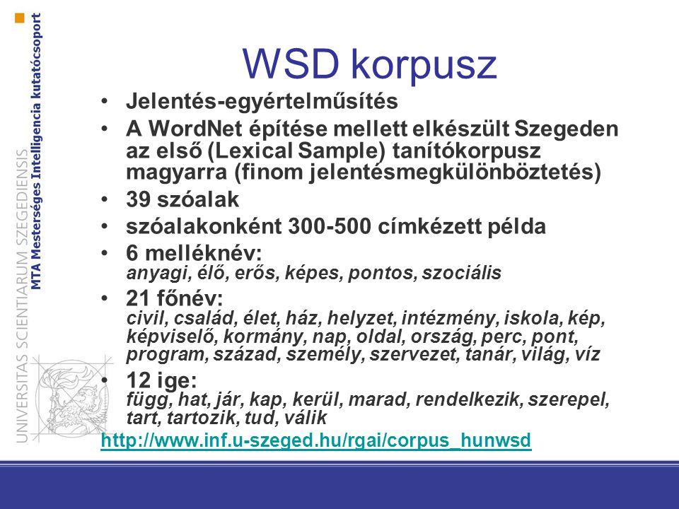 WSD korpusz Jelentés-egyértelműsítés A WordNet építése mellett elkészült Szegeden az első (Lexical Sample) tanítókorpusz magyarra (finom jelentésmegkü