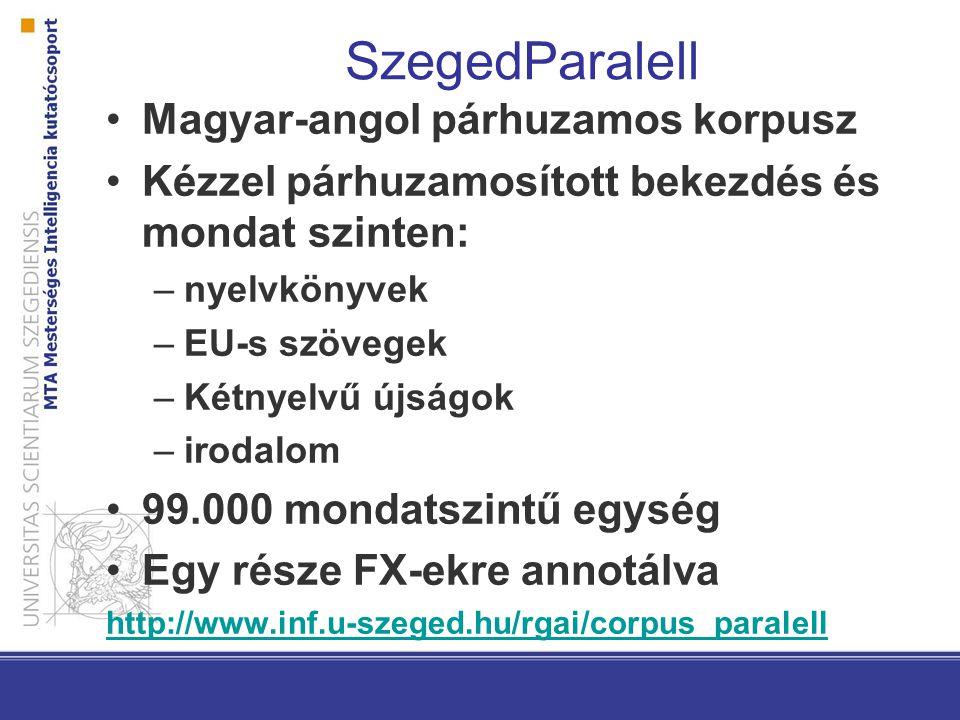 SzegedParalell Magyar-angol párhuzamos korpusz Kézzel párhuzamosított bekezdés és mondat szinten: –nyelvkönyvek –EU-s szövegek –Kétnyelvű újságok –iro