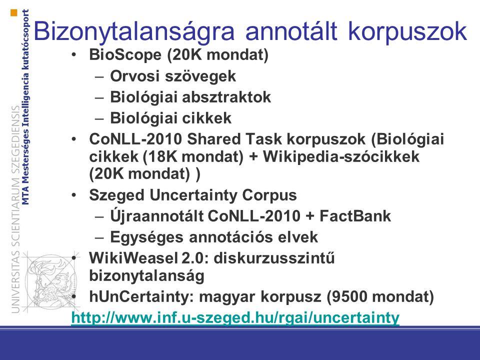 Bizonytalanságra annotált korpuszok BioScope (20K mondat) –Orvosi szövegek –Biológiai absztraktok –Biológiai cikkek CoNLL-2010 Shared Task korpuszok (