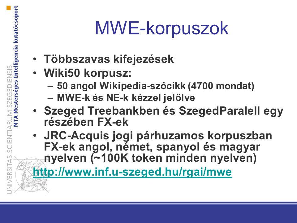 MWE-korpuszok Többszavas kifejezések Wiki50 korpusz: –50 angol Wikipedia-szócikk (4700 mondat) –MWE-k és NE-k kézzel jelölve Szeged Treebankben és Sze