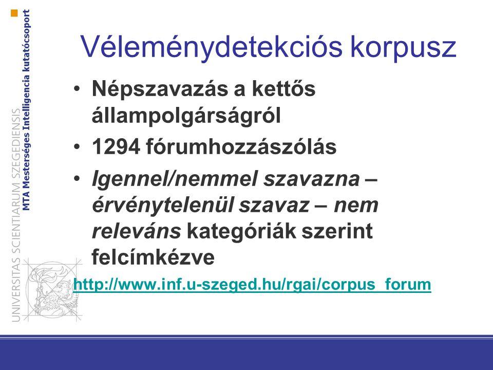 Véleménydetekciós korpusz Népszavazás a kettős állampolgárságról 1294 fórumhozzászólás Igennel/nemmel szavazna – érvénytelenül szavaz – nem releváns k