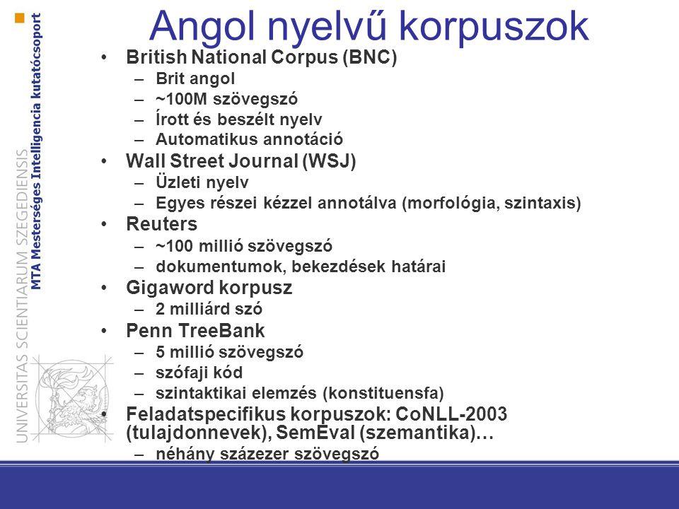 Angol nyelvű korpuszok British National Corpus (BNC) –Brit angol –~100M szövegszó –Írott és beszélt nyelv –Automatikus annotáció Wall Street Journal (
