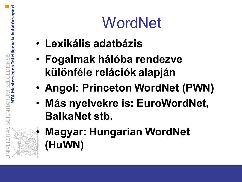 WordNet Lexikális adatbázis Fogalmak hálóba rendezve különféle relációk alapján Angol: Princeton WordNet (PWN) Más nyelvekre is: EuroWordNet, BalkaNet