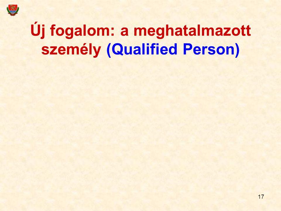 17 Új fogalom: a meghatalmazott személy (Qualified Person)