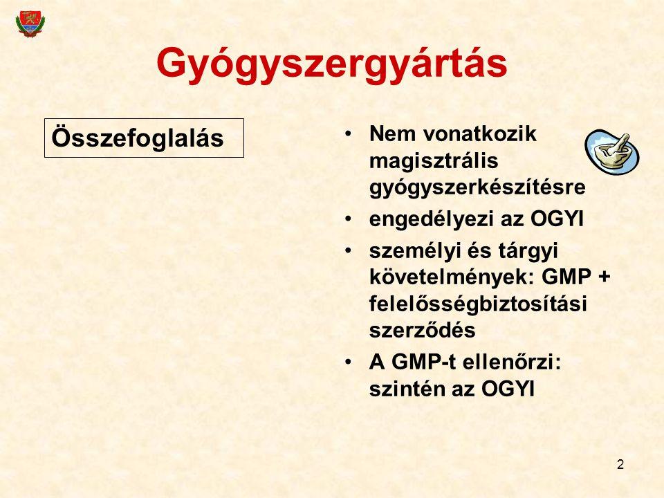 2 Nem vonatkozik magisztrális gyógyszerkészítésre engedélyezi az OGYI személyi és tárgyi követelmények: GMP + felelősségbiztosítási szerződés A GMP-t