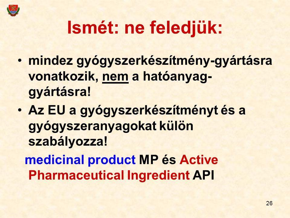 26 Ismét: ne feledjük: mindez gyógyszerkészítmény-gyártásra vonatkozik, nem a hatóanyag- gyártásra! Az EU a gyógyszerkészítményt és a gyógyszeranyagok