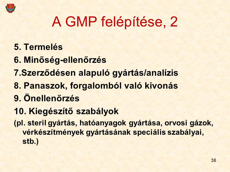 36 A GMP felépítése, 2 5. Termelés 6. Minőség-ellenőrzés 7.Szerződésen alapuló gyártás/analízis 8. Panaszok, forgalomból való kivonás 9. Önellenőrzés