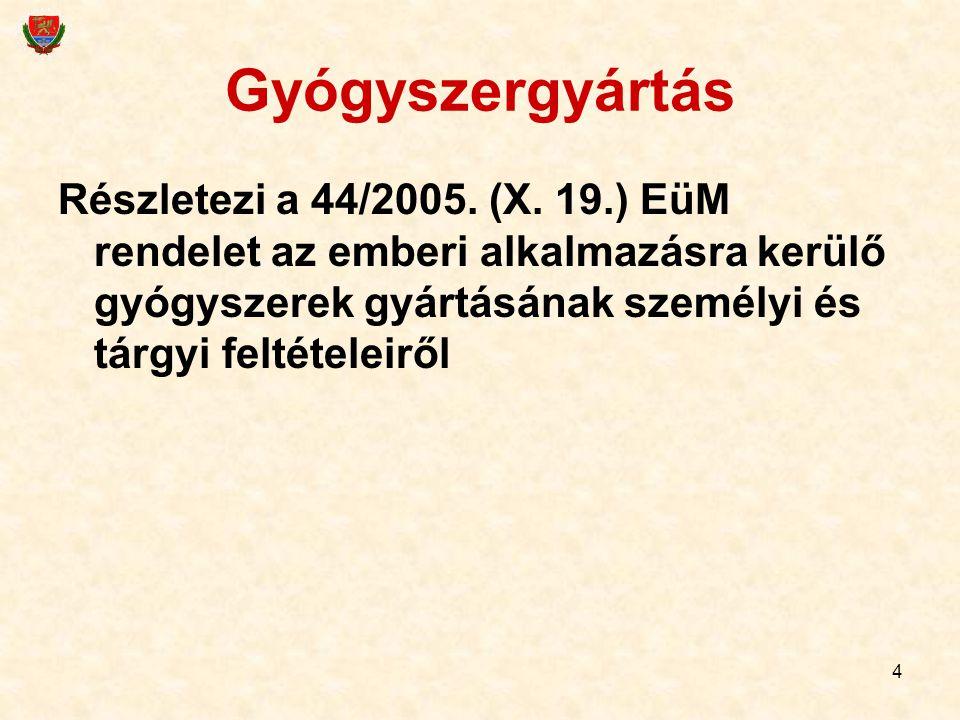 4 Gyógyszergyártás Részletezi a 44/2005. (X. 19.) EüM rendelet az emberi alkalmazásra kerülő gyógyszerek gyártásának személyi és tárgyi feltételeiről