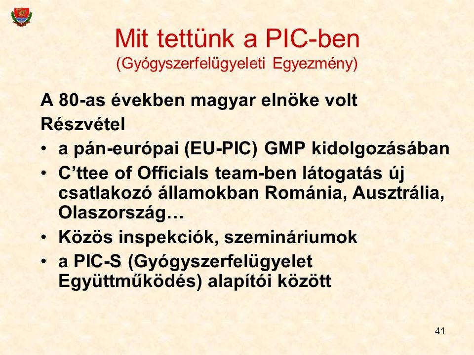 41 Mit tettünk a PIC-ben (Gyógyszerfelügyeleti Egyezmény) A 80-as években magyar elnöke volt Részvétel a pán-európai (EU-PIC) GMP kidolgozásában C'tte