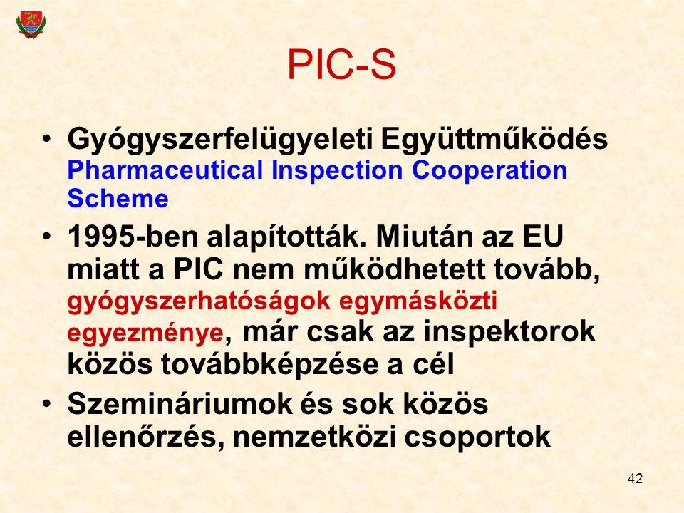 42 PIC-S Gyógyszerfelügyeleti Együttműködés Pharmaceutical Inspection Cooperation Scheme 1995-ben alapították. Miután az EU miatt a PIC nem működhetet