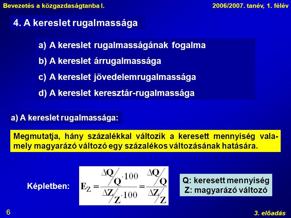 Bevezetés a közgazdaságtanba I.2006/2007. tanév, 1. félév 3. előadás 6 a)A kereslet rugalmasságának fogalma b)A kereslet árrugalmassága c)A kereslet j