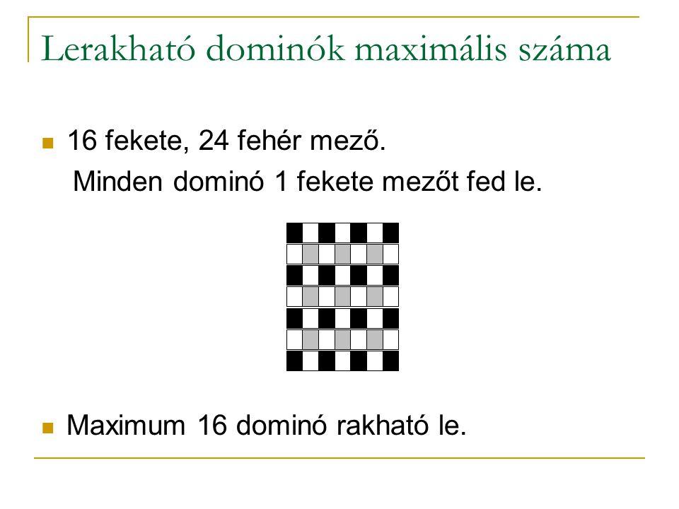 Lerakható dominók maximális száma 16 fekete, 24 fehér mező. Minden dominó 1 fekete mezőt fed le. Maximum 16 dominó rakható le.