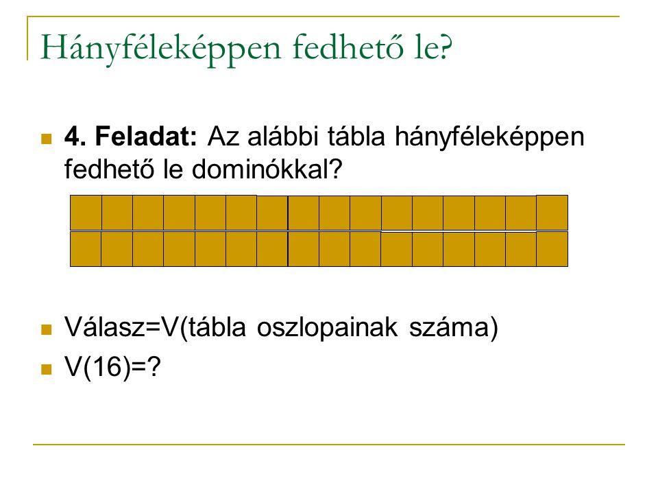 Hányféleképpen fedhető le? 4. Feladat: Az alábbi tábla hányféleképpen fedhető le dominókkal? Válasz=V(tábla oszlopainak száma) V(16)=?