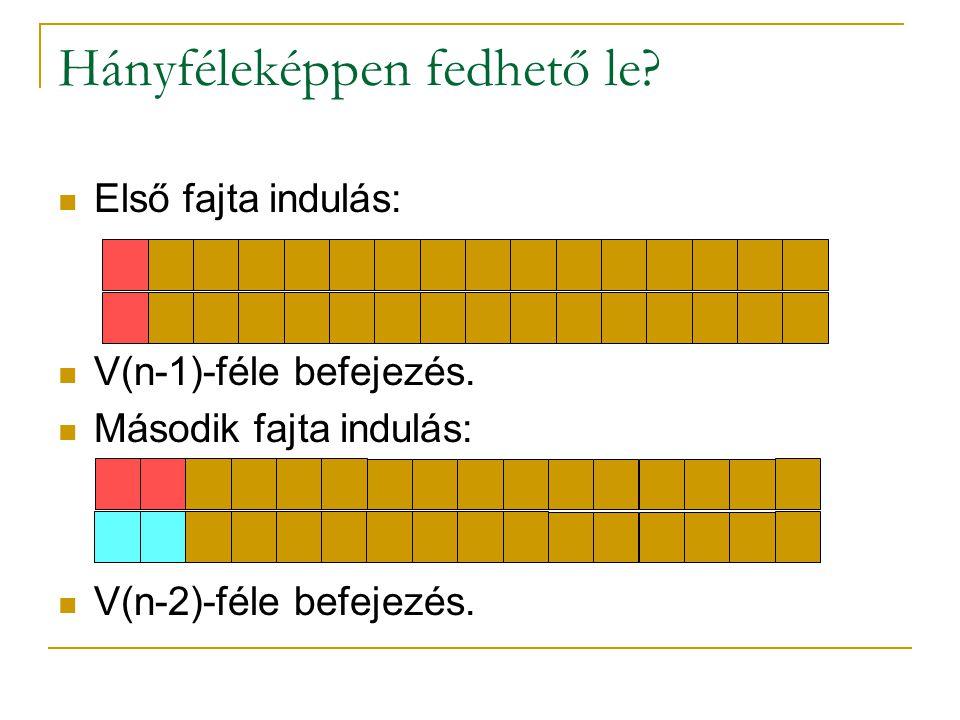 Hányféleképpen fedhető le? Első fajta indulás: V(n-1)-féle befejezés. Második fajta indulás: V(n-2)-féle befejezés.