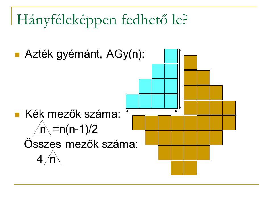 Hányféleképpen fedhető le? Azték gyémánt, AGy(n): Kék mezők száma: n =n(n-1)/2 Összes mezők száma: 4 n