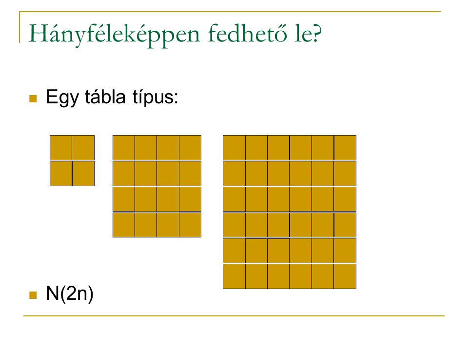 Hányféleképpen fedhető le? Egy tábla típus: N(2n)