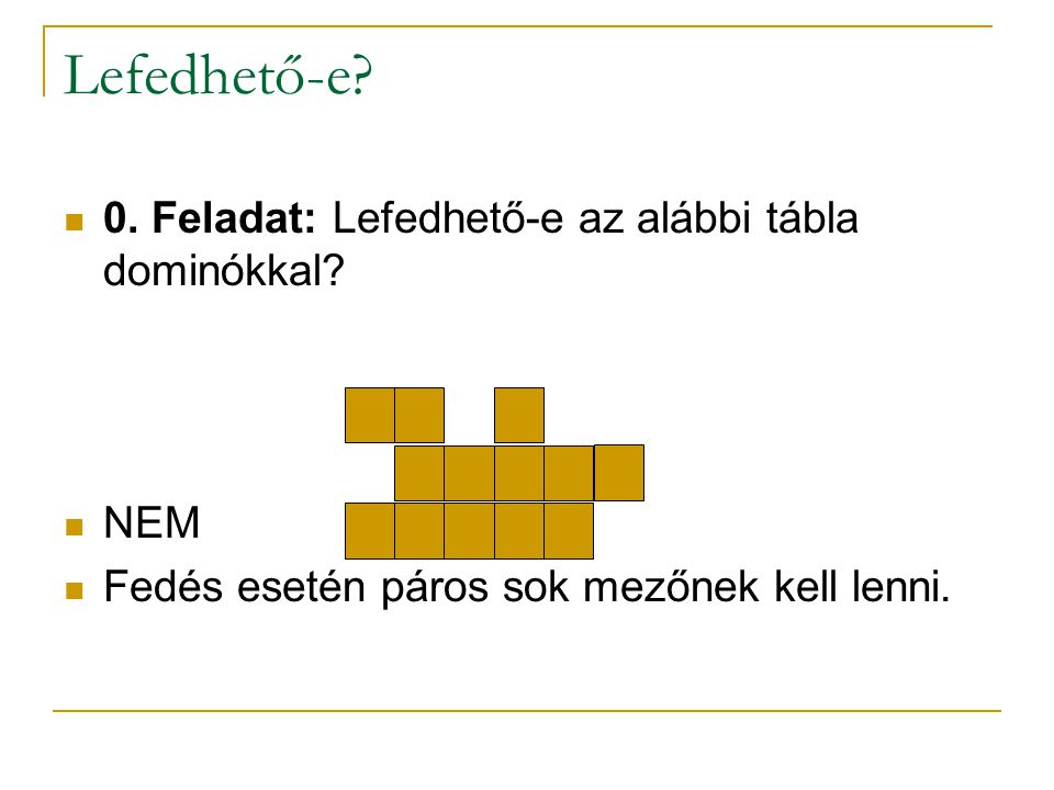 Lefedhető-e? 0. Feladat: Lefedhető-e az alábbi tábla dominókkal? NEM Fedés esetén páros sok mezőnek kell lenni.