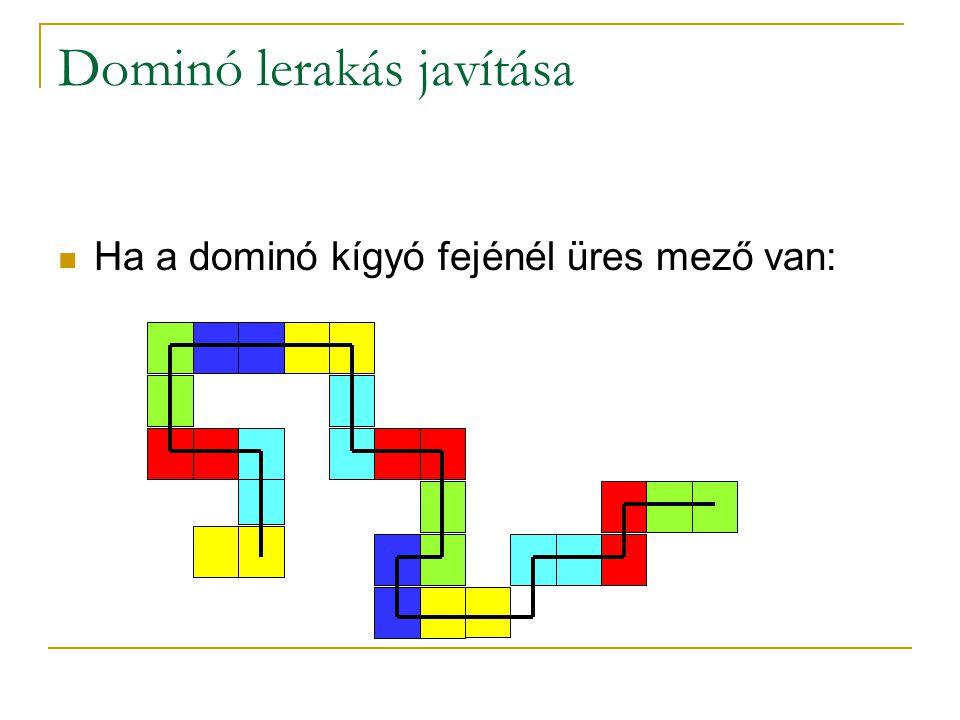 Dominó lerakás javítása Ha a dominó kígyó fejénél üres mező van:
