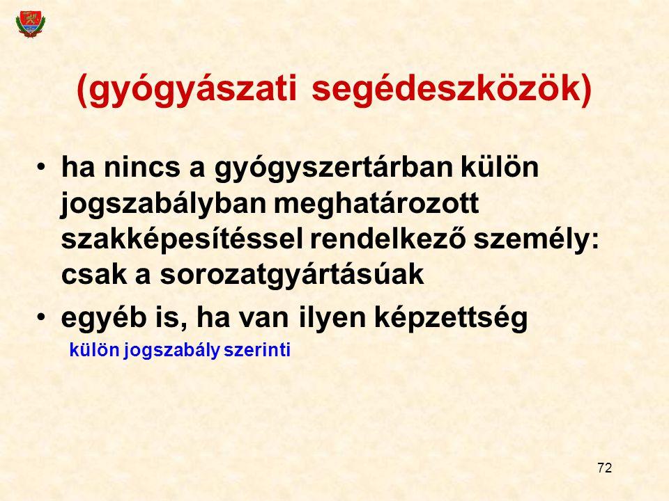 72 (gyógyászati segédeszközök) ha nincs a gyógyszertárban külön jogszabályban meghatározott szakképesítéssel rendelkező személy: csak a sorozatgyártás