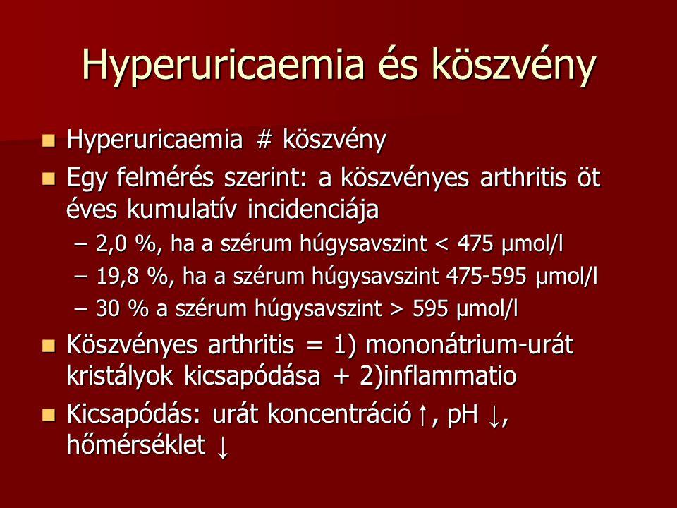 Hyperuricaemia és köszvény Hyperuricaemia # köszvény Hyperuricaemia # köszvény Egy felmérés szerint: a köszvényes arthritis öt éves kumulatív incidenc