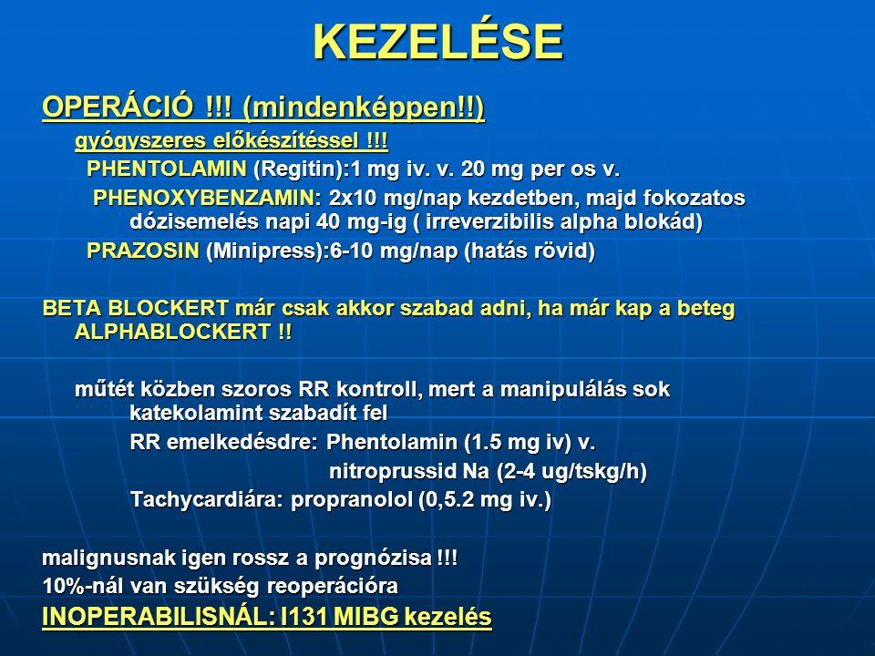 KEZELÉSE OPERÁCIÓ !!.(mindenképpen!!) gyógyszeres előkészítéssel !!.