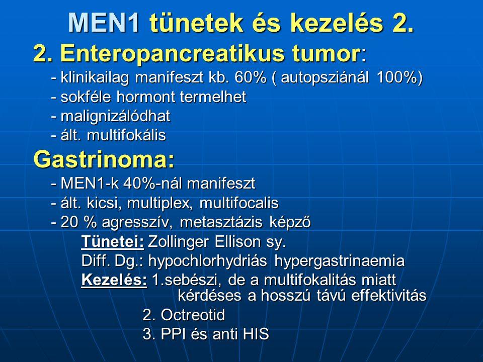 MEN1 tünetek és kezelés 2.2. Enteropancreatikus tumor: - klinikailag manifeszt kb.