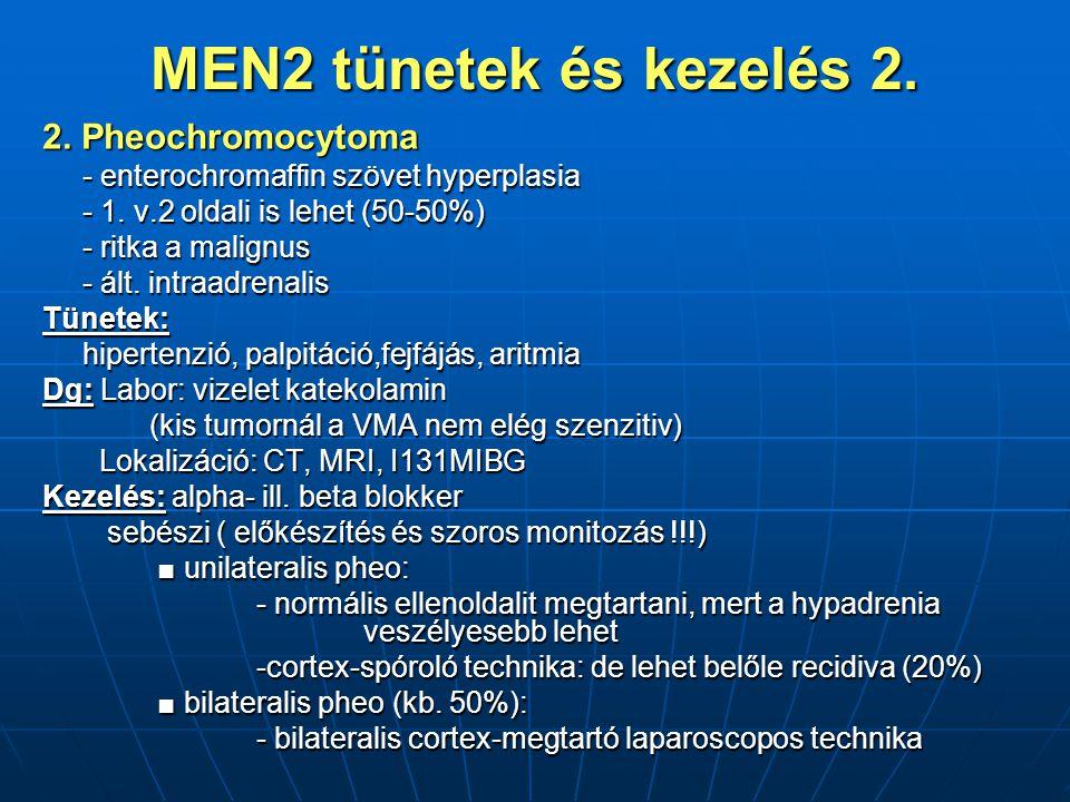 MEN2 tünetek és kezelés 2.2. Pheochromocytoma - enterochromaffin szövet hyperplasia - 1.