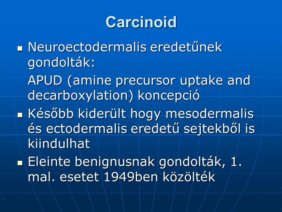 Carcinoid Neuroectodermalis eredetűnek gondolták: Neuroectodermalis eredetűnek gondolták: APUD (amine precursor uptake and decarboxylation) koncepció Később kiderült hogy mesodermalis és ectodermalis eredetű sejtekből is kiindulhat Később kiderült hogy mesodermalis és ectodermalis eredetű sejtekből is kiindulhat Eleinte benignusnak gondolták, 1.