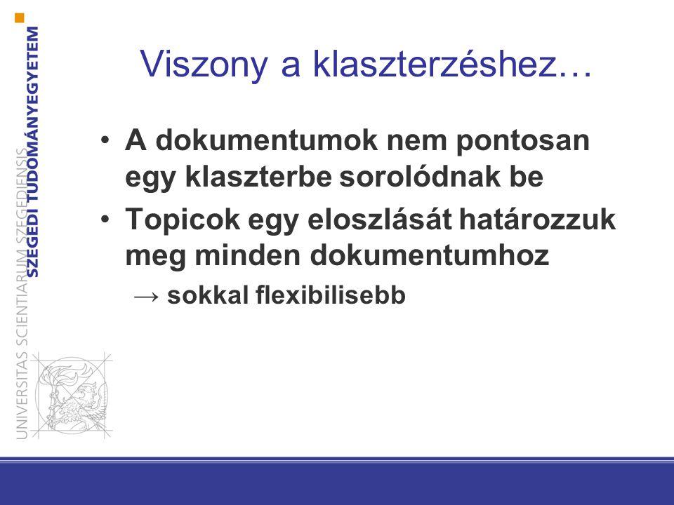 Viszony a klaszterzéshez… A dokumentumok nem pontosan egy klaszterbe sorolódnak be Topicok egy eloszlását határozzuk meg minden dokumentumhoz → sokkal flexibilisebb