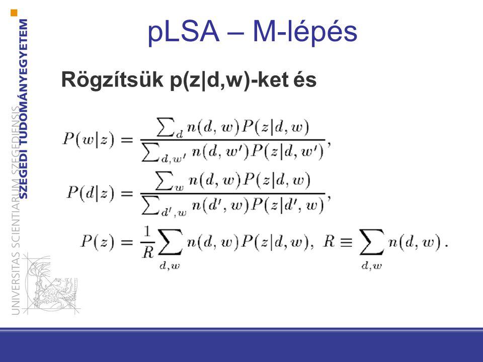 pLSA – M-lépés Rögzítsük p(z|d,w)-ket és