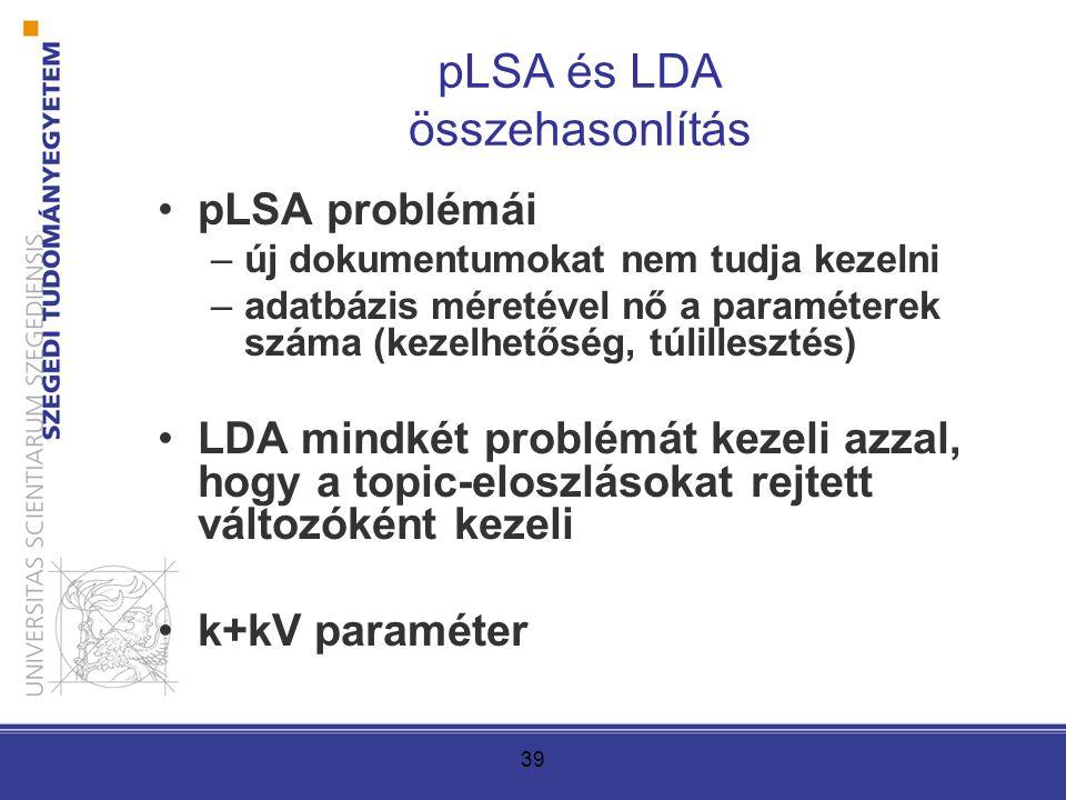 39 pLSA és LDA összehasonlítás pLSA problémái –új dokumentumokat nem tudja kezelni –adatbázis méretével nő a paraméterek száma (kezelhetőség, túlillesztés) LDA mindkét problémát kezeli azzal, hogy a topic-eloszlásokat rejtett változóként kezeli k+kV paraméter
