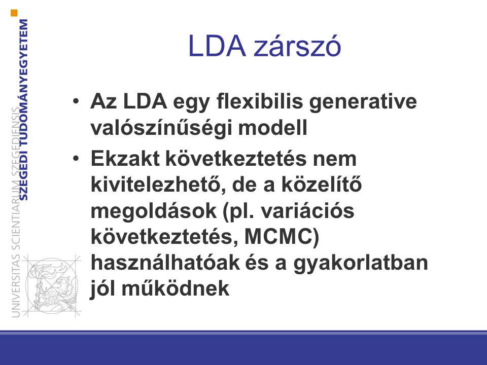 LDA zárszó Az LDA egy flexibilis generative valószínűségi modell Ekzakt következtetés nem kivitelezhető, de a közelítő megoldások (pl.