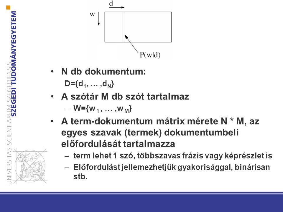 N db dokumentum: D={d 1, …,d N } A szótár M db szót tartalmaz –W={w 1, …,w M } A term-dokumentum mátrix mérete N * M, az egyes szavak (termek) dokumentumbeli előfordulását tartalmazza –term lehet 1 szó, többszavas frázis vagy képrészlet is –Előfordulást jellemezhetjük gyakorisággal, binárisan stb.