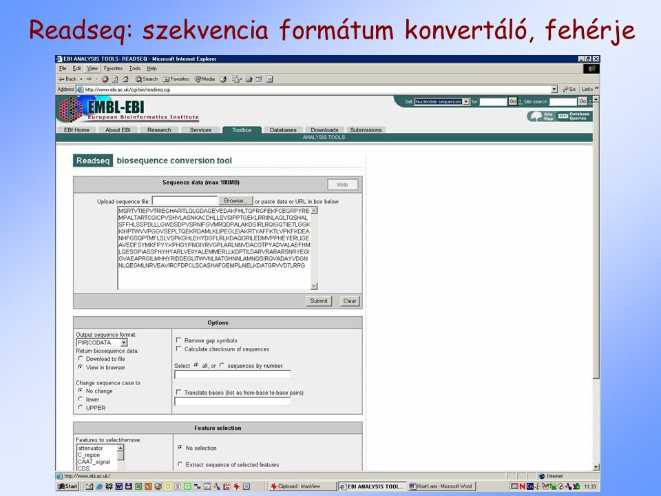 Readseq: szekvencia formátum konvertáló, fehérje