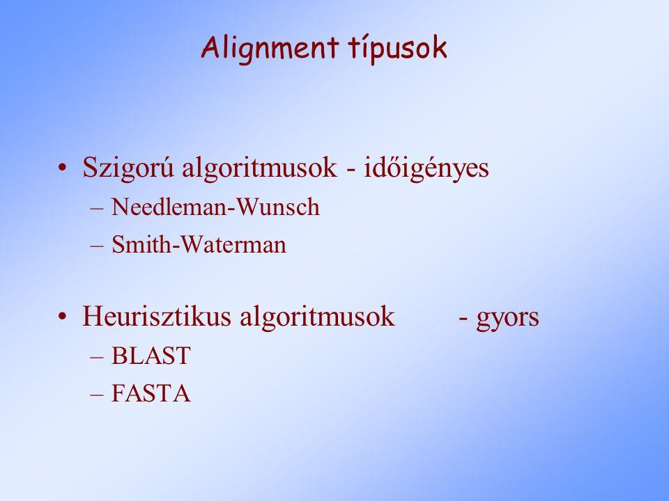 Alignment típusok Szigorú algoritmusok - időigényes –Needleman-Wunsch –Smith-Waterman Heurisztikus algoritmusok- gyors –BLAST –FASTA