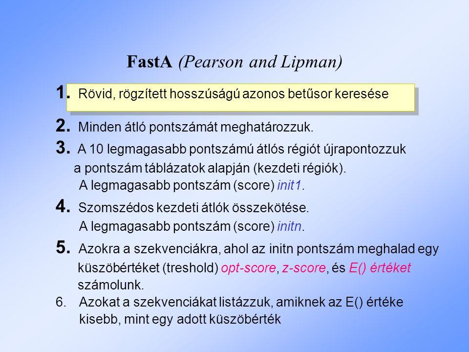 FastA (Pearson and Lipman) 1.Rövid, rögzített hosszúságú azonos betűsor keresése 2.