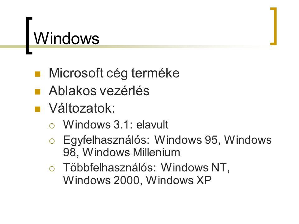 Windows Microsoft cég terméke Ablakos vezérlés Változatok:  Windows 3.1: elavult  Egyfelhasználós: Windows 95, Windows 98, Windows Millenium  Többf