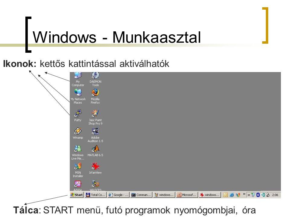 Windows - Munkaasztal Tálca: START menü, futó programok nyomógombjai, óra Ikonok: kettős kattintással aktiválhatók