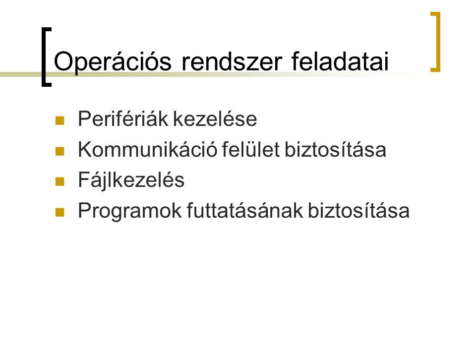 Közös jellemzők Részeik:  Rendszermag (kernel) Végig a memóriában van Alapfunkciókat biztosítja  Segédprogramok Bootolás: operációs rendszer automatikus betöltése + alapbeállítások elvégzése