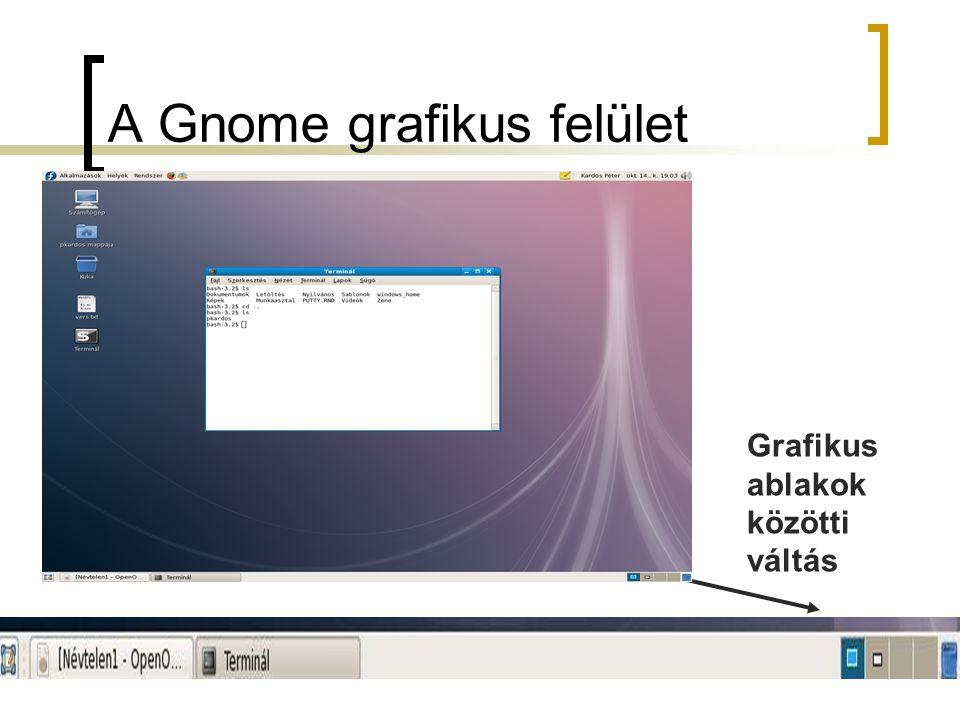A Gnome grafikus felület Grafikus ablakok közötti váltás